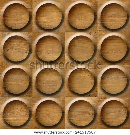 Bubble decorative pattern - circular tiles - wood texture - walnut veneer - seamless background- Abstract decorative panels - Interior wall decoration - wooden background - wood wall - cassette floor - stock photo