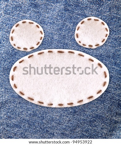 bubble fabric on blue Jean - stock photo