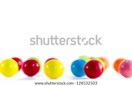 Bubble gum pieces on white background - stock photo