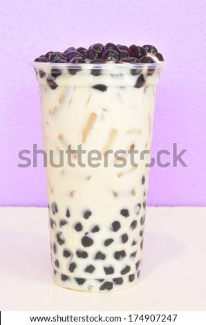 bubble milk tea in plastic cup - stock photo