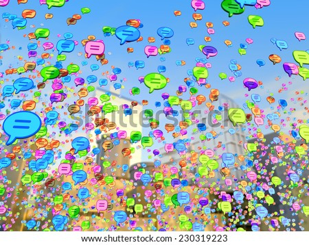 Bubble speech icon the background of the city - stock photo