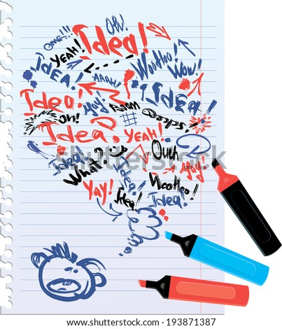 bubble speech sketch on notebook with lined sheets, concept or idea, handdrawn  background. Raster version - stock photo