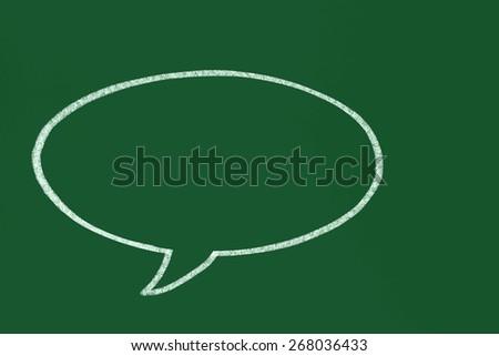 bubble talk icon on blackboard - stock photo