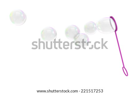 Bubble wand childrens toy blowing soapy bubbles into the air - stock photo
