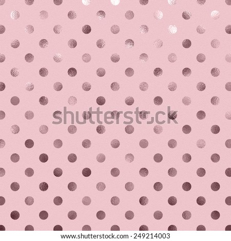 Bubblegum Pink Metallic Foil Polka Dot Pattern Swiss Dots Texture Paper Color Background - stock photo