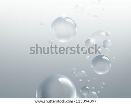 bubbles on a light gray background - stock photo