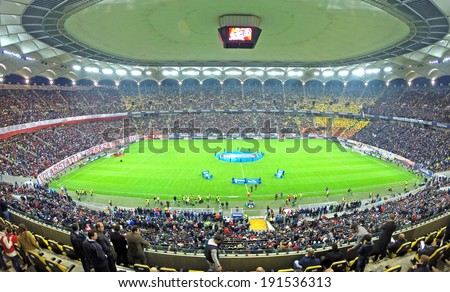 BUCHAREST - APRIL 17: Beginning of a soccer match between Dinamo and Steaua Bucharest. On April 17, 2014 in Bucharest, Romania  - stock photo