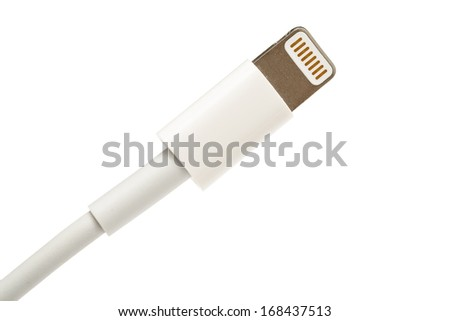BUCHAREST, ROMANIA - DECEMBER 20, 2013: Apple Lightning Connector Isolated On White Background. Is a proprietary connector used to connect mobile devices iPhones, iPads and iPods to host computers. - stock photo