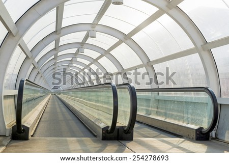 BUCHAREST, ROMANIA - February 14, 2015: Spiral shaped passage for pedestrians and bicycles at Grant Bridge in Bucharest in late winter - stock photo