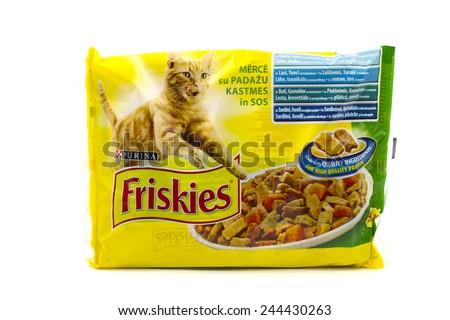 BUCHAREST, ROMANIA - January 15 2015:Friskies cat food. Friskies is product of Purina Mills of Gray Summit,Missouri. - stock photo