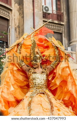 "BUCHAREST, ROMANIA - JUNE 09, 2016: Golden Angel & Sol theater show (Germany), inside of International Festival of Street Theater, ""B-FIT in the street 2016"" - stock photo"