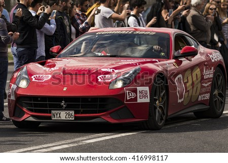 BUCHAREST, ROMANIA - MAY 7: Ferrari F12 on parade on May 7, 2016 in Bucharest. The car is part of the Gumball 3000 Dublin to Bucharest Charity Grid Rally. - stock photo