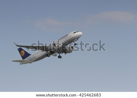 BUCHAREST, ROMANIA - May 18, 2016: German airline Lufthansa, Airbus A320-200, taking off at Henri Coanda International Airport of Bucharest. - stock photo