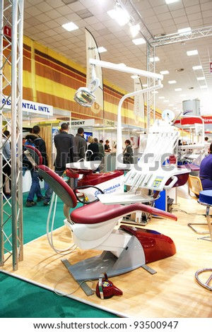 BUCHAREST, ROMANIA - NOVEMBER 19: Exhibition of dental products at Denta in Romexpo, on November 19, 2011 in Bucharest, Romania - stock photo