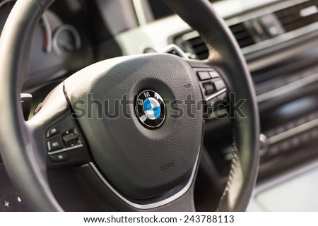 BUCHAREST, ROMANIA - OCTOBER 30, 2014: BMW Car Inside View. Bayerische Motoren Werke AG commonly known as BMW is a German automobile, motorcycle and engine manufacturing company founded in 1916. - stock photo