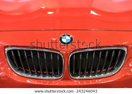 BUCHAREST, ROMANIA - OCTOBER 31, 2014: BMW Sign Close Up. Bayerische Motoren Werke AG commonly known as BMW is a German automobile, motorcycle and engine manufacturing company founded in 1916. - stock photo