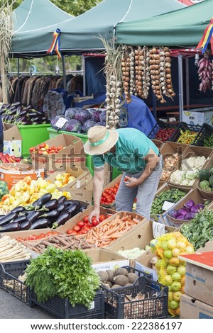 BUCHAREST, ROMANIA - OCTOBER 03, 2014: Farmer sell their products at an agricultural fair - stock photo