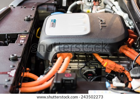 BUCHAREST, ROMANIA - OCTOBER 31, 2014: Kia Soul EV Electric Car Engine. Soul EV is an all-electric all new compact car manufactured by Kia Motors for the first time in 2014. - stock photo