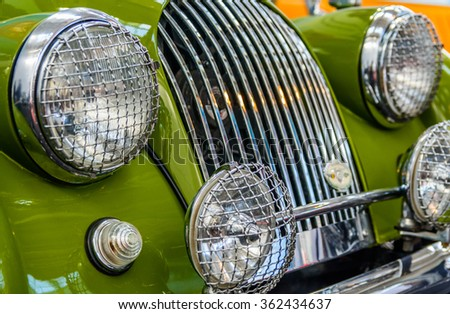 Bucharest, Romania - October 10, 2015: Romaero Baneasa.The Bucharest Automotive Show, is one of the biggest public business showcase platforms for the automotive industry in Romania. - stock photo