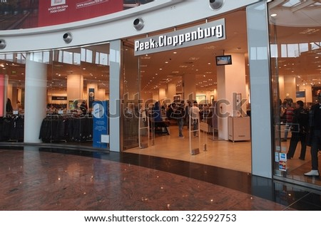 BUCHAREST, ROMANIA - SEPTEMBER 27, 2015.  Peek & Cloppenburg store in Baneasa Shopping City, Bucharest. Peek & Cloppenburg is an international chain of retail clothing stores with headquarters in DE. - stock photo