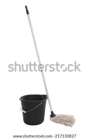 Bucket and Mop - stock photo