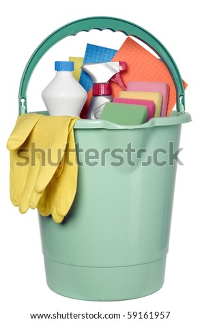 Bucket filled with cleaning industry tools, clean service - stock photo