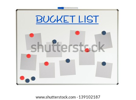 Bucket list with empty papers and magnets on a whiteboard, isolated on white - stock photo