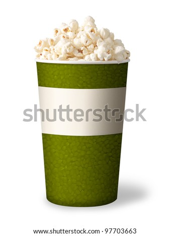 bucket of popcorn isolated on white background. green color. - stock photo