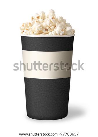 bucket of popcorn isolated on white background. grey color. - stock photo