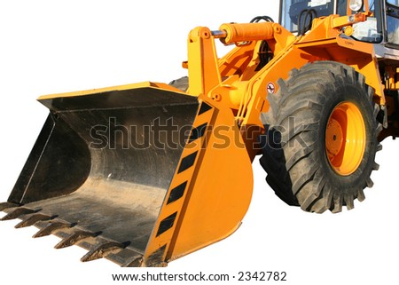 Bucket of the heavy building bulldozer of yellow color on a white background, Isolated - stock photo