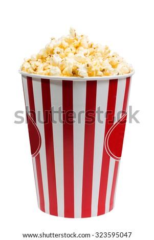 bucket  popcorn - stock photo
