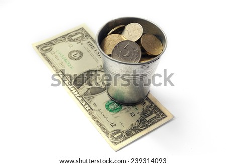 Bucket Russian rubles worth on the banknote denominations of one dollar. Russian ruble and the US dollar. Exchange Rates. Russia's economy. - stock photo
