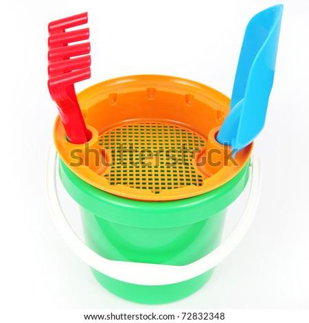 Bucket toy isolated on white background - stock photo