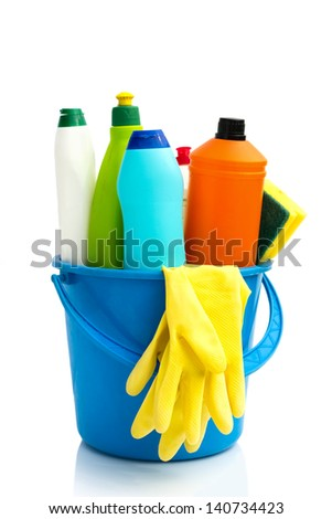 bucket with  cleaning supplies, isolated over white - stock photo
