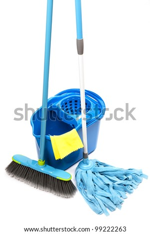 bucket with mop,  brush and gloves - stock photo