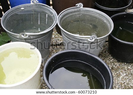 Buckets in zinc and plastic filled with collected rain for watering garden - stock photo