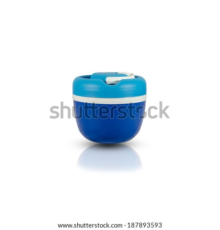 Buckets of drinking water Ice on white background - stock photo