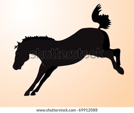 Bucking Horse Silhouette Clip Art Bucking horse - stock photo