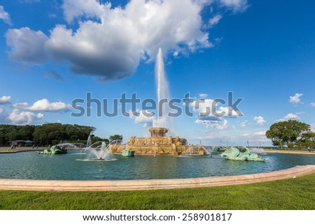 Buckingham fountain and rainbows in Grant Park, Chicago, IL. - stock photo