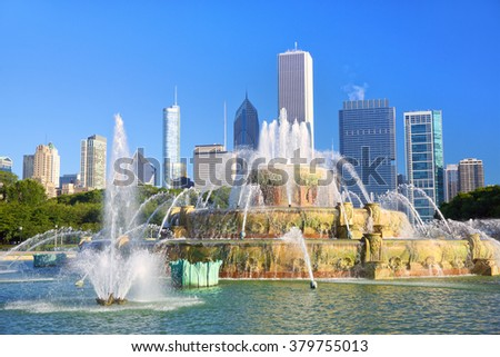Buckingham Fountain at Grant Park in Chicago, United States - stock photo