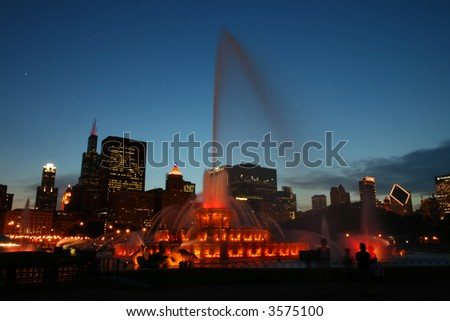 Buckingham Fountain at Night in Chicago - stock photo
