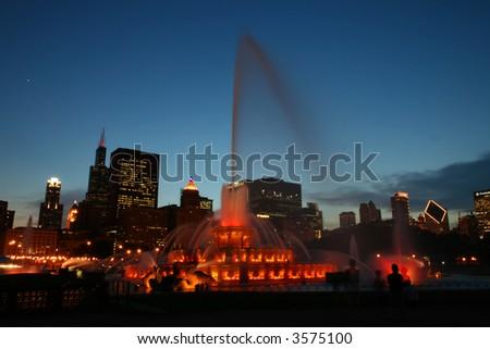 Buckingham Fountain at Night in Chicago - stock photo