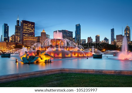 Buckingham Fountain. Image of Buckingham Fountain in Grant Park, Chicago, Illinois, USA. - stock photo
