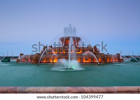 Buckingham Fountain. Image of the Buckingham Fountain in Grant Park, Chicago, Illinois, USA. - stock photo