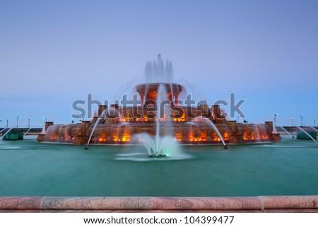 Buckingham Fountain. Image of the Buckingham Fountain in Grant Park, Chicago, Illinois, USA. - stock photo