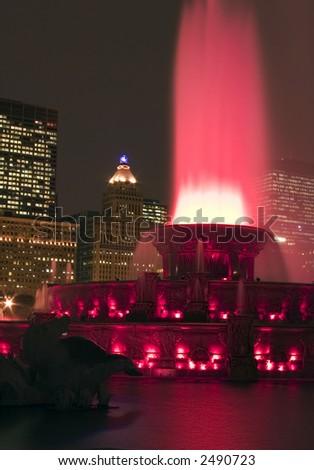 Buckingham fountain in Chicago downtown at night, Illinois - stock photo