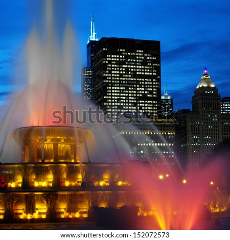 Buckingham Memorial Fountains in Grant Park on the shore of Lake Michigan in Chicago, Illinois, United States of America - stock photo