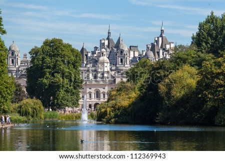Buckingham Palace and Victoria Memorial in London - stock photo
