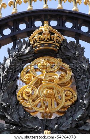 Buckingham Palace Gate. Royal Crest Detail - stock photo