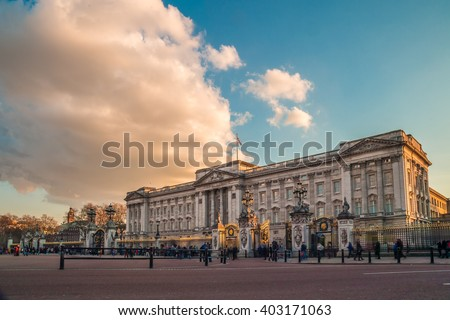 Buckingham palace in the evening - stock photo